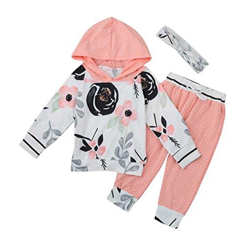 Kleinkind Blumen Gestreift Mit Kapuze Tops + Hosen Outfit Säugling Baby Mädchen Junge Kleider Set_Hirolan (80cm, (Mädchen Zwei Kostüm Face)