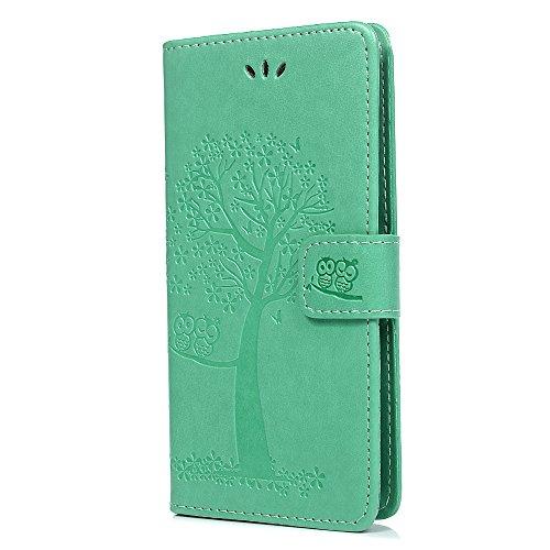 Huawei P Smart Cover, in pelle sintetica in poliuretano alta copertura in pelle goffrata gufo con supporto di carta ID slot Folio protettiva in TPU bumper custodia per Huawei P Smart/Enjoy 7s Green