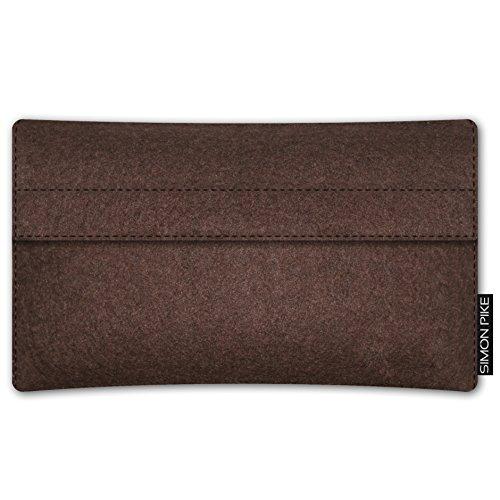 SIMON PIKE Apple iPhone 7 / 6 / 6S Filztasche Case Hülle 'NewYork' in elefantengrau 1, passgenau maßgefertigte Filz Schutzhülle aus echtem Natur Wollfilz, dünne Tasche im schlanken Slim Fit Design für braun Filz (Muster 10)