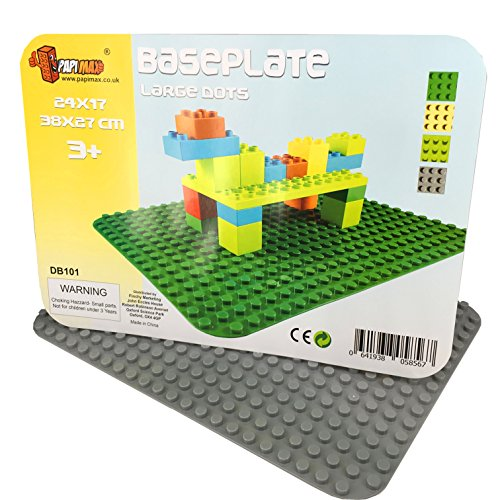 Papi Max Platte Große Bauplatte 38.5 cm X 27 cm grundplatte 24 x 17 Noppen hellgrau - Grundplatten Lego Großen