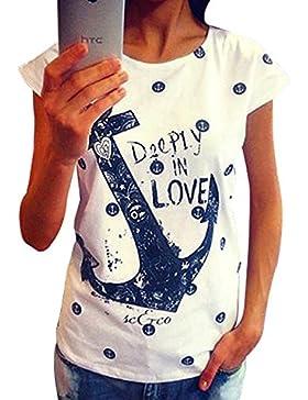 koobea Magliette Donna Estate Moda Navy Anchor Maglietta Maniche Corte Donna T Shirt Tops