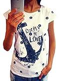 Shirts Damen Sommer Kurzarm Anker T Shirt Druck Tops Oberteile Frauen Weiß Small