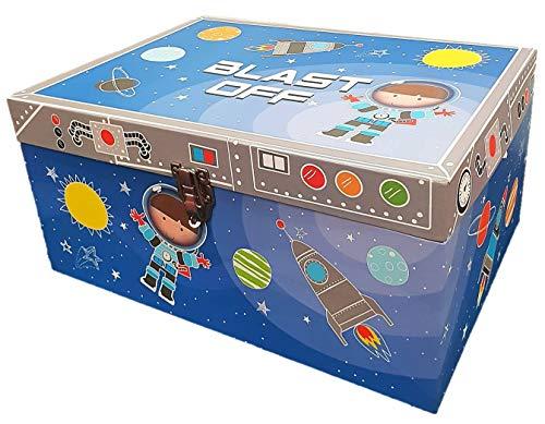 Cards Galore Online - Caja de Almacenamiento de Juguetes para niños, diseño de Astronauta y Cohetes, Color Azul