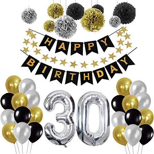 Yoart 30. Geburtstag Dekorationen Party Supplies für Männer Boy mit Alles Gute zum Geburtstag Banner Swirl Decor Party Latex Ballons Silber und Schwarz
