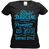 Geschenk zum 18 Geburtstag Frauen - Damen T-Shirt Bester Jahrgang 2001 Farbe: schwarz Gr: XL - Geburtstagsgeschenk Set Girlie mit Urkunde