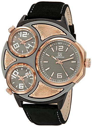 Joshua & Sons Men's JX105RGBK Gray and Rose Gold Triple Time Zone Quartz Watch with Rose Gold Dial and Black Leather Strap