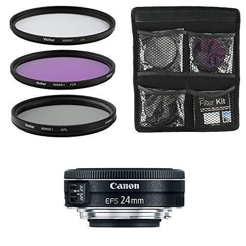 Canon Obiettivo EF S 24 f/2.8 STM Pancake Obiettivo per Fotocamera Digitale Reflex e Set di Filtri 3 Pezzi UV FLD CPL Nero
