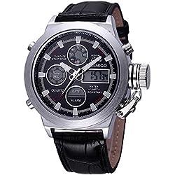 BOAMIGO Luminous Alarm Date Week 50M Waterproof Quartz Digital Mens Watch (Black)