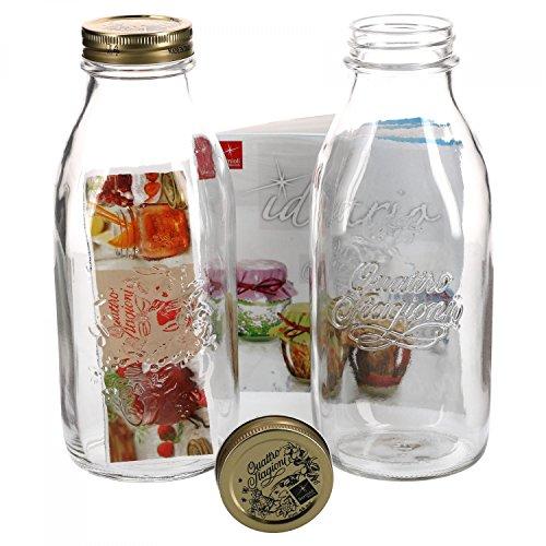 2er Set Einmachglas Original Quattro Stagioni 1,0L Flasche incl. Bormioli Rezeptheft -