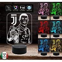 CRISTIANO RONALDO Lampada led 7 colori Juventus da scrivania Squadra juve IDEA REGALO luce notturna stanza bambino a led stanza bambina