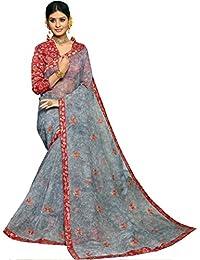 Fabura Women's Cotton Saree With Blouse Piece (F-47469, Blue, Free Size)