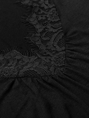 WAJAT Damen Schulterfrei Langarmshirt V-Ausschnitt Spitze T-Shirt Tunika Schwarz