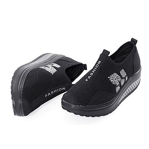 EnllerviiD Damen Sneaker Atmungsaktiv Mesh-oberfläche Schuhe Laufschuhe Plateau Slip On Schwarz