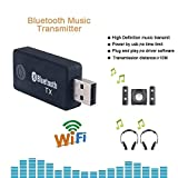 Bluetooth Transmitter, Andven Wireless Transmitter for TV with 3.5mm Adapter and USB Dongle (High-Fidelity Stereo, Plug and Play via USB or AUX Input, Charging while Playing for TV or iPod) - TX9