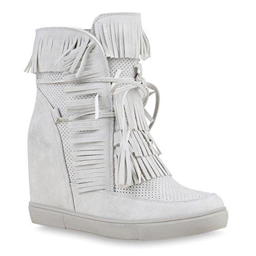 Sportliche Damen Stiefeletten Sneakerstiefel Fransen Keilabsatz Schuhe 134449 Hellgrau Fransen 39 Flandell