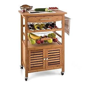 KLARSTEIN Louisiana - Küchenwagen, Rollwagen, Servierwagen, 4 Etagen, inklusive Schränkchen, herausnehmbare Schublade, Flaschenablage, Obstschütte, Bambusholz, braun