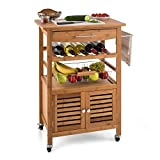 Klarstein Louisiana Kitchen Trolley Serving Wagon (4 Floors, Kitchen Cart with Numerous Storage Options, High-Quality Workmanship) Bamboo