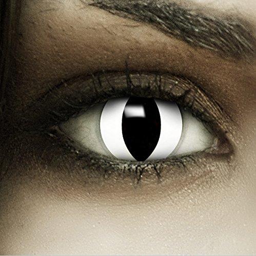 Make Up Kostüm Mit Maske Katze (Farbige weiße Kontaktlinsen