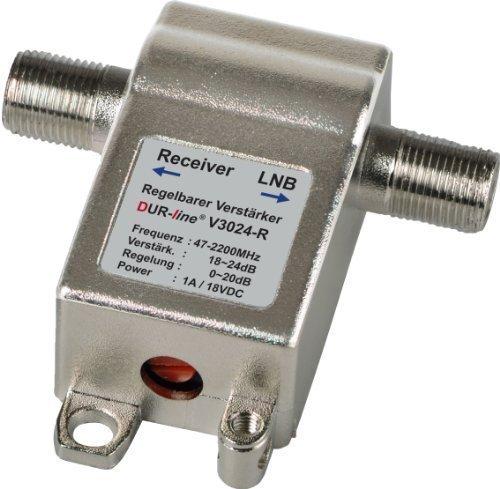 DUR-line V3024-R regelbarer Mini Inline Verstärker für SAT und DVB-T Empfang bis zu 24dB Verstärkung