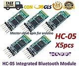 5pcs HC-05 Integrated Bluetooth Module Wireless Serial Port Module HC05 |5 stücke HC-05 Drahtlose Serielle Bluetooth RF Transceiver Modul 6 Pin Master-Slave Bluetooth Extender Platte für Arduino und Echte