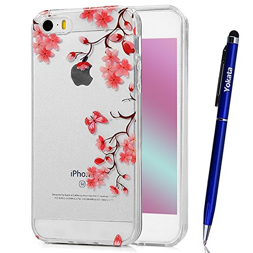 Für iPhone 5 / 5s / SE Cover, Yokata Transparent Comic Motiv TPU Soft Case mit Weich Silikon Bumper Crystal Clear Klar Schutzhülle Durchsichtig Dünne Case Hülle + 1 X Stylus Pen - Schädel Blumen A