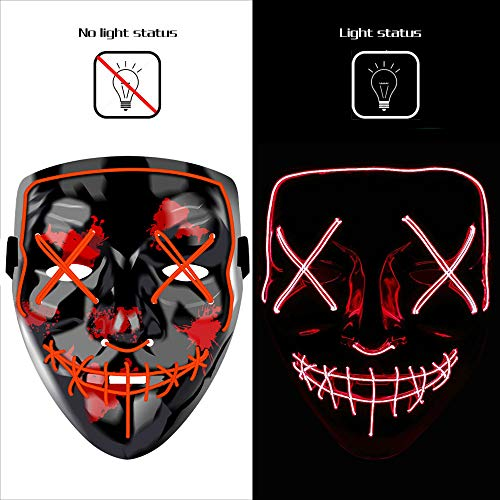 AnseeDirect Mascara Terror Purga Mascara Led Halloween Cosplay Led Disfraz Máscara Hombre El Wire Light Up Power Purge Mask para Fiestas Festival Fiesta De Disfraces Navidad