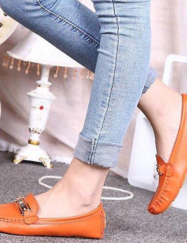 ShangYi gyht Scarpe Donna-Ballerine-Ufficio e lavoro / Formale / Casual-Comoda / Ballerina-Piatto-Nappa Leather / Tulle-Giallo / Bianco / Arancione White