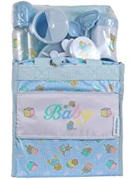 Big Oshi Baby Essentials 13 Piece Diaper Bag Feeding Newborn Gift Set, Blue, One Size