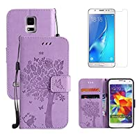for Samsung Galaxy S5 Mini Flip Case and Screen Protector ,OYIME [Purple Cute Cat and Butterfly Tree] Design Leather Kickstand Magnetic Holster with Card Holder Full Body Protective Wallet Cover