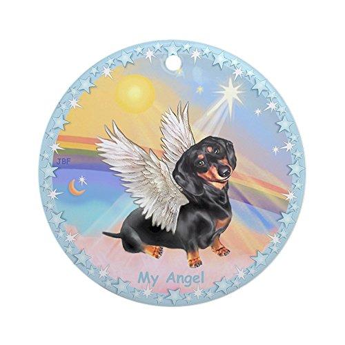 CafePress Wolken/Dackel Schmuck Engel (Rund)–Rund Urlaub Weihnachten Ornament