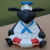 Schaf Molly mit Rettungsring Tierfigur Deko Garten Terrasse Matrose Maritim
