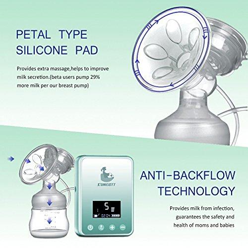 Elektrische Milchpumpe - SUMGOTT Wiederaufladbar Digitale LCD-Anzeige Dual Brustpumpe Stillen Automatische Massage - 4