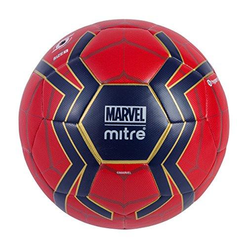 Mitre Spiderman - Balón de fútbol para niños, Color Rojo y Azul, 5 Unidades