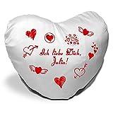Herzkissen mit Namen Julia und Motiv - Ich liebe Dich - zum Valentinstag - Herzkissen personalisiert Kuschelkissen Schmusekissen