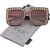 SOJOS Vogue Occhiali da Sole Donna Quadrari Oversize Cristalli Scintillante SJ2053 con Marrone Telaio/Marrone Lente