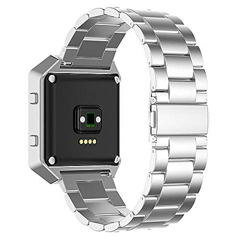 Owikar Fitbit Blaze Band Métal Acier inoxydable Smart Watch Band de remplacement Band pour Smart Fitness montres Fitbit Blaze Longueur réglable pour homme et femme