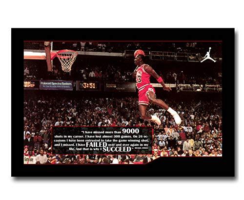 Michael Jordan Dunks Motivations-Zitat-Kunst-Plakat-Druck-Basketball-Wand-Bilder für Hauptdekor 50 * 75 cm ohne Rahmen