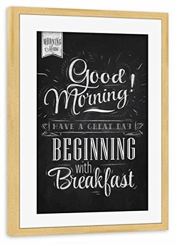 artboxONE Poster mit Rahmen Kiefer 60x40 cm Good Morning - Breakfast von Anna Kozlenko - gerahmtes Poster -