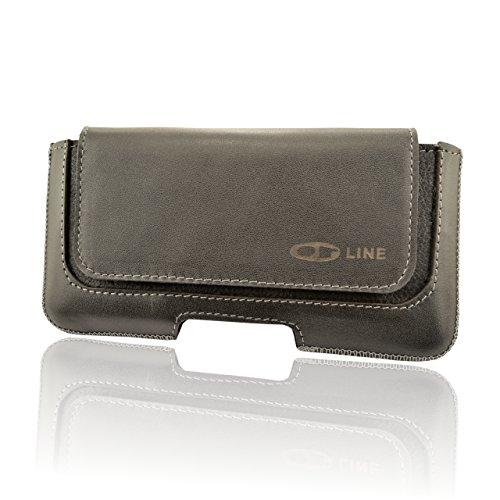 OrLine Handytasche geeignet für Alcatel Idol 3C Ledertasche Gürteltasche ECHT Leder Hülle Case mit Gürtelclip, Schlaufe und Magnetverschluss Schwarz/Graphit