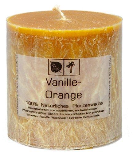 Marmorierte Natur Kerze 7,5 x 7,5 cm aus Pflanzenwachs, Duft VANILLE und ORANGE ungebleichter - ätherische Vanille öle Gewürz
