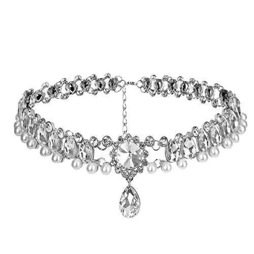 Petalum Eleery Frauen Perlen Choker Halsketten Kette Tropfen Legierung Gothic (Silbrig)