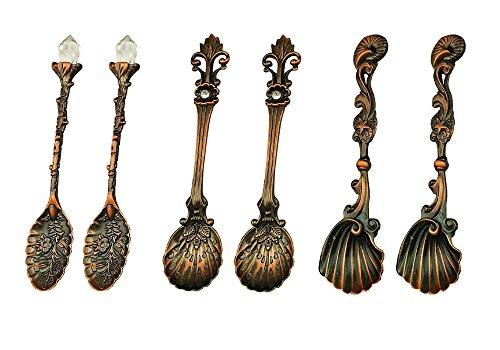 Kreative kleine Löffel Serie von Multi Formen und Muster Retro Löffel,6pcs
