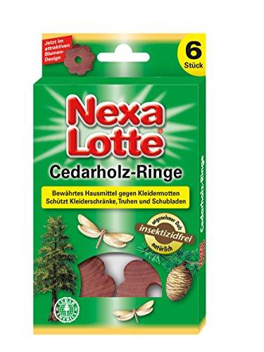 Cedar Kleiderschrank (Nexa Lotte Cedarholzringe, Mottenschutz, Natürlicher Schutz vor Kleidermotten in Kleiderschränken, Schubladen und Truhen, 6 Ringe)