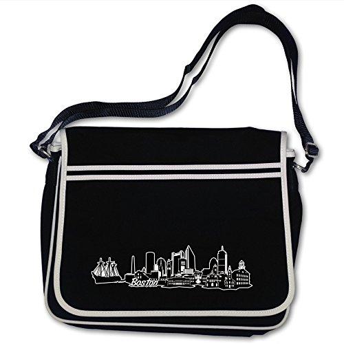 plot4u Freizeittasche Boston Skyline Digitaldruck Hauptstadt Bag Base® BagBase Retro Messenger 40x30x10cm schwarz/farbiger Aufdruck (Weiße Boston Bag)