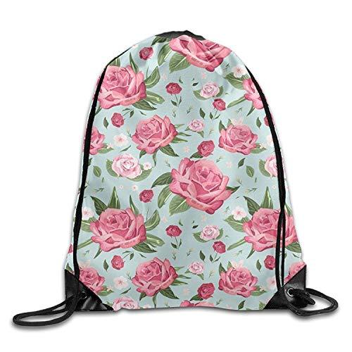ack Black Red Rose Art Design Print Drawstring Backpack Rucksack Shoulder Bags Gym Bag ()