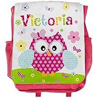 Kinderrucksack Eule mit Name für Mädchen in Pink, Kita, Kindergarten, personalisiert,