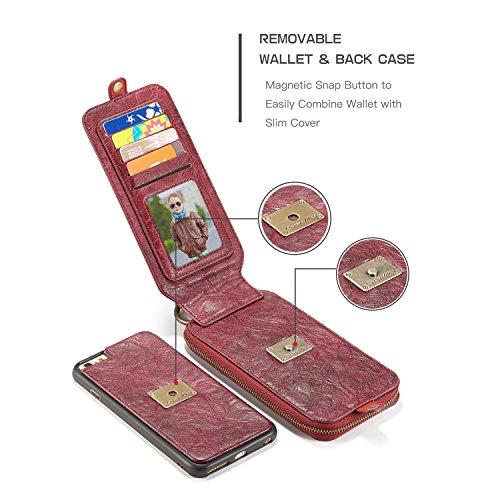 Caseme Cuir Portefeuille Coque avec magnétique amovible Coque arrière en TPU + PC, Folio, DE L'Argent, supports Design de fermeture, Red, iPhone 7