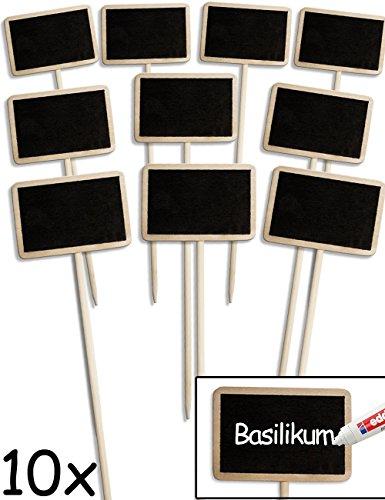 HOMETOOLS.EU® - 10x Klassische Holz Pflanz-Schilder | Beet Balkon Kräuter-Garten Blumen-Kübel | Landhaus | beschreibbar, 25cm, 10er Set