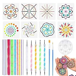 Set mit 24 Mandala Dotting Tools inkl. Acrylstäben, Doppelspitzen-Kugel-Eingabestifte, Farbtablett, Schablonen und Pinseln für Steinmalerei, Kinder-Handwerk, Nail-Art