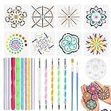 uego de 24 herramientas de puntaje Mandala incluyendo varillas acrílicas, puntas dobles bolígrafos, bandeja de pintura